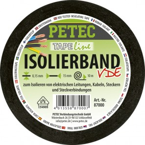 Petec Isolierband schwarz 15mm x 10m