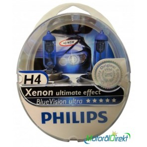 Philips H4 12V 60/55W P43t BlueVision Ultra 2st.+ 2xW5W
