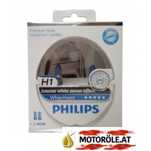 H1 Philips 12V 55W P14,5s WhiteVision 2st. Set + 2 xW5W
